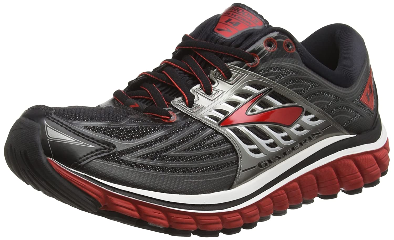 Brooks Glycerin 14, Chaussures de Running Homme, Gris (Black/Highriskred/Anthracite), 46.5 EU