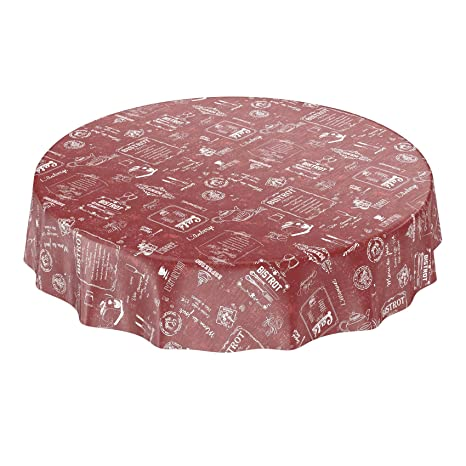 Hule, mantel encerado, toalla, rojo, Rund 100cm