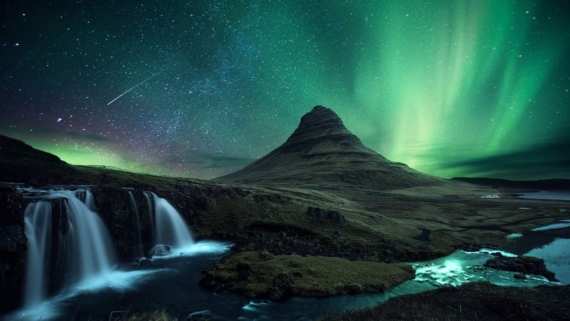 ZSFFSZ Jigsaw Puzzle 1000 Piece Iceland Volcano Rock Waterfall Night Star Northern Lights Gift Diy Modern Wall Art Unique Gift Home Decor
