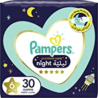 Pampers Premium Care Night Diapers, Size 6, 14+kg, 30 count