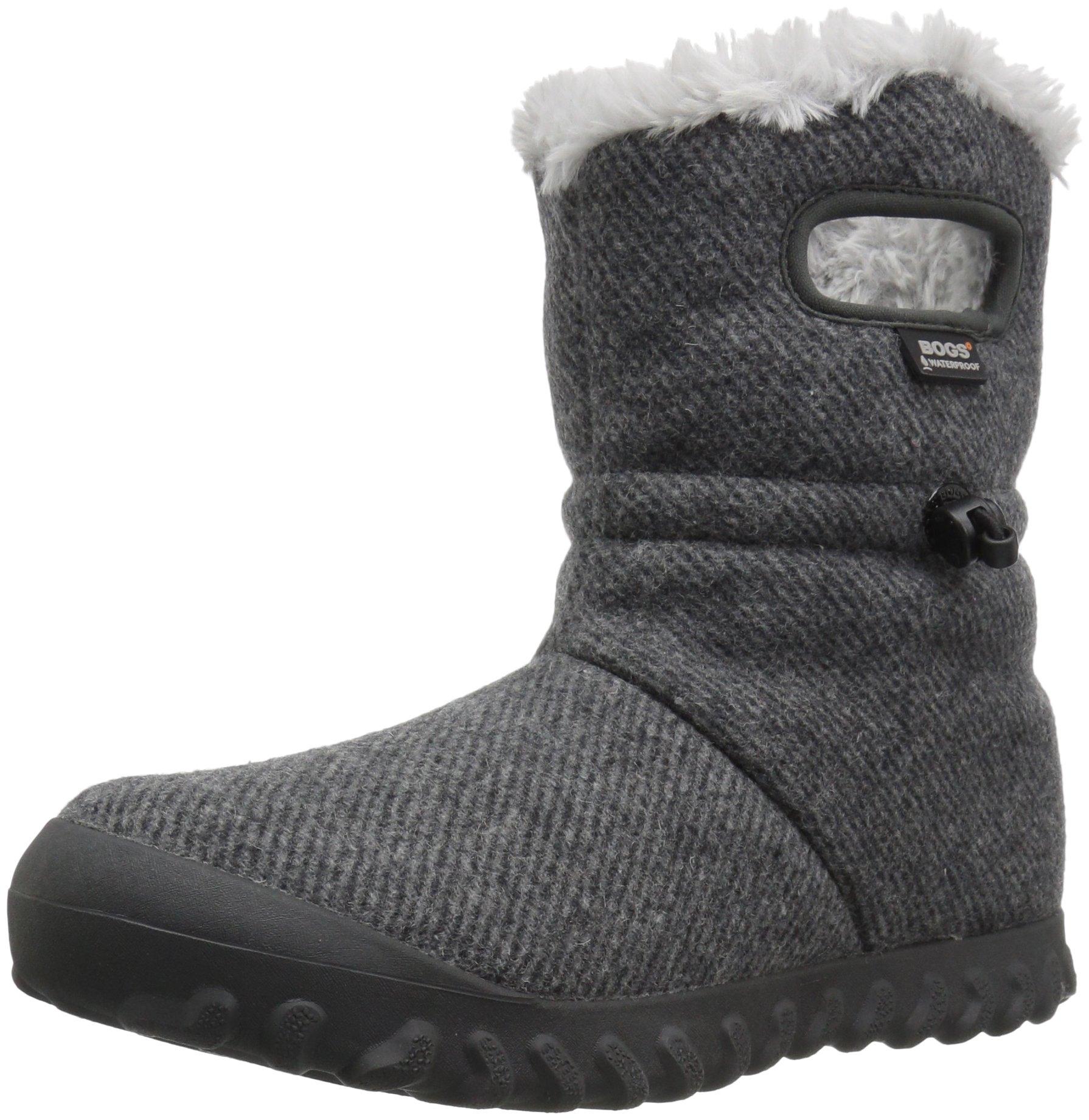 Bogs Women's Bmoc Wool Snow Boot, Charcoal, 7 M US