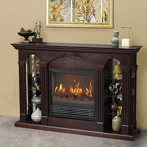 GOOD GRACIOUS Electric Fireplace TV Stand for Up to 65 Flat Screen TV, Retro Entertainment Center with Tempered Glass Storage Shelves, for Living Room, Bedroom or Entertainment Room