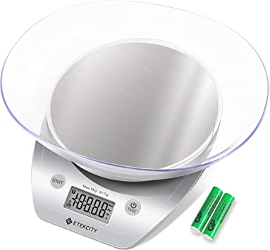 Digitale Küchenwaage Schüssel Haushaltswaage Feinwaage LCD 5KG//1g Edelstahl 2L