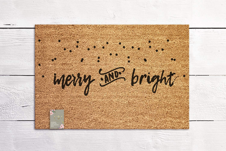 Merry and Bright Christmas Holiday Door mat Seasonal Welcome New Home Gift Coconut Fiber Coir Mat Outdoor Doormat
