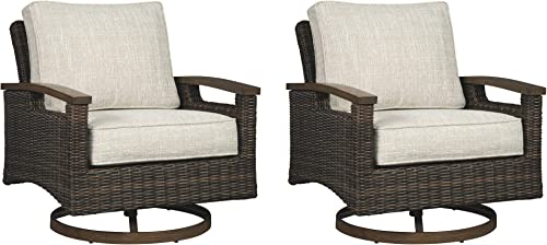 Signature Design by Ashley – Paradise Trail Outdoor Swivel Lounge Chair – Set of 2 – All-Weather Wicker Frame – Medium Brown