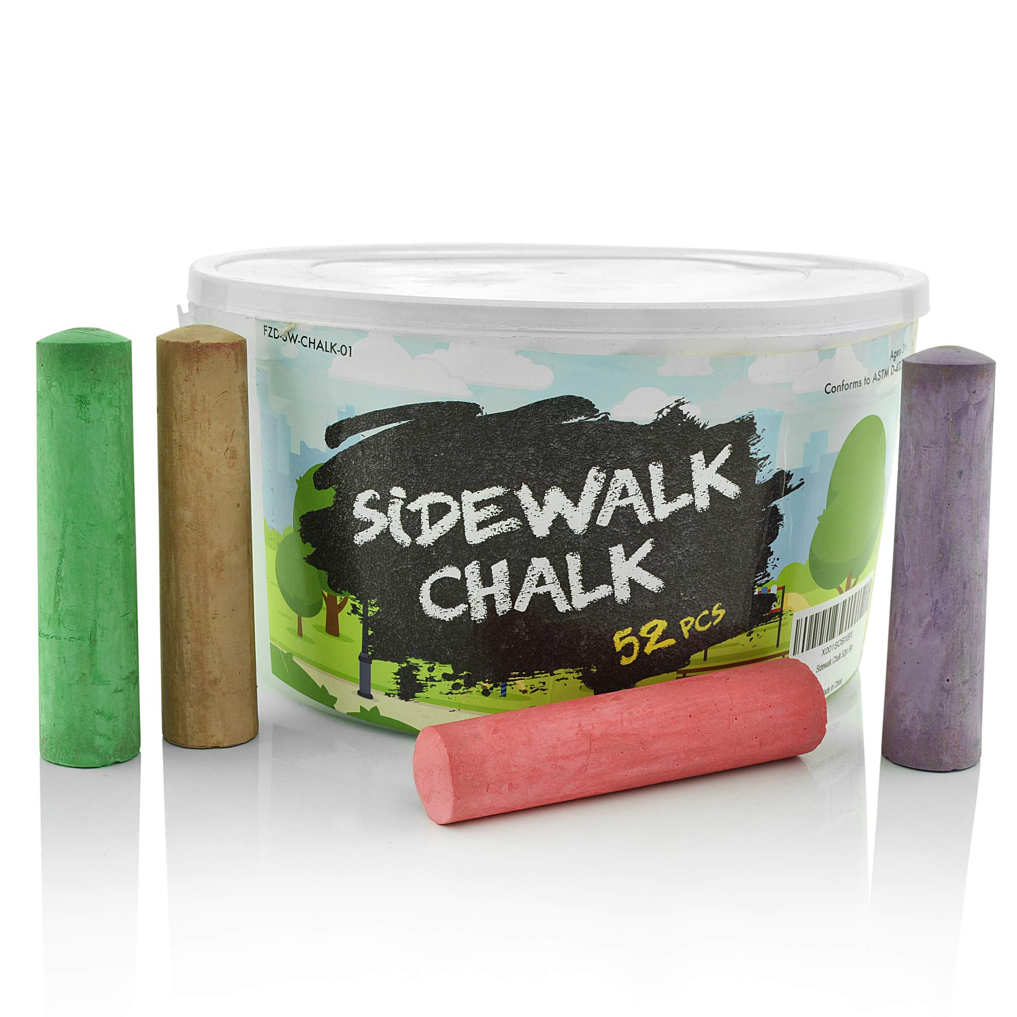 Sidewalk Chalk Set - Pack of 52 Multi-Color Jumbo Street Chalks - 10 Bright & Cheerful Colors - Nontoxic, Washable Tapered Chalks in a Reusable Plastic Container - 1 x 4 Inches by Fat Zebra Designs