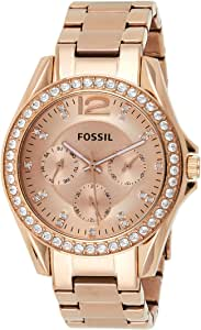 Fossil Riley Women's Pink Dial Stainless Steel Analog Watch - ES2811
