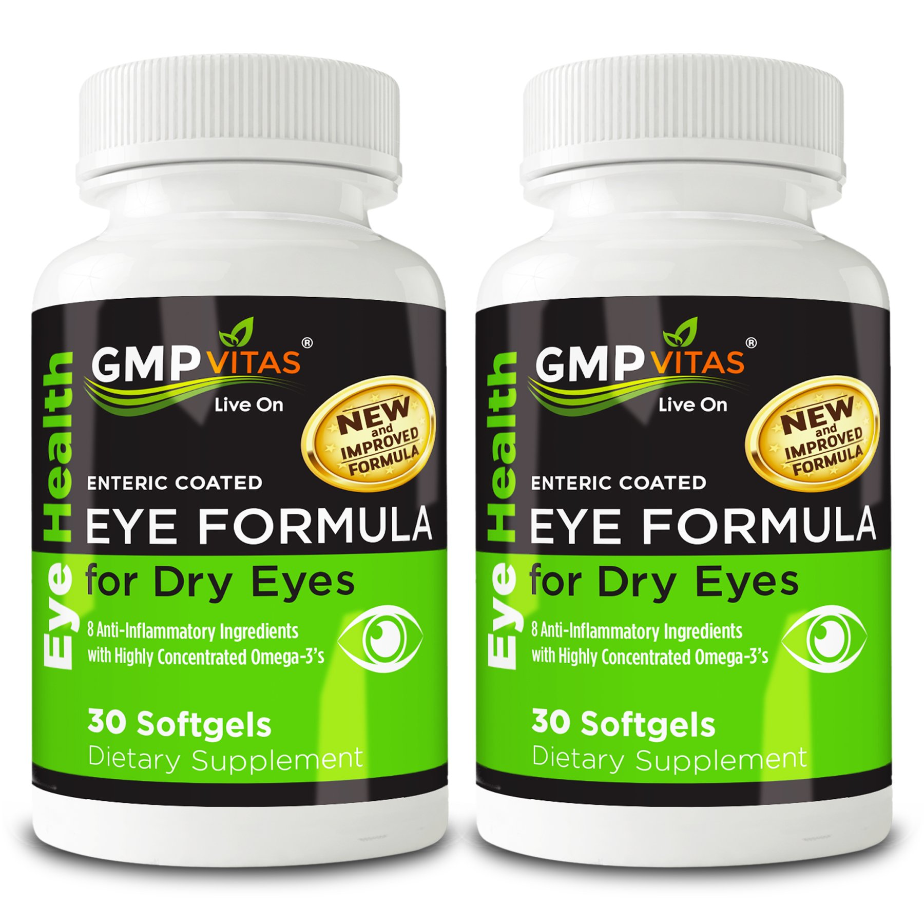 GMPVitas Enteric Coated Eye Formula- High Potency Omega-3 Supplement with Lutein, Astaxanthin Hyaluronic Acid, Vitamin C and E (2)