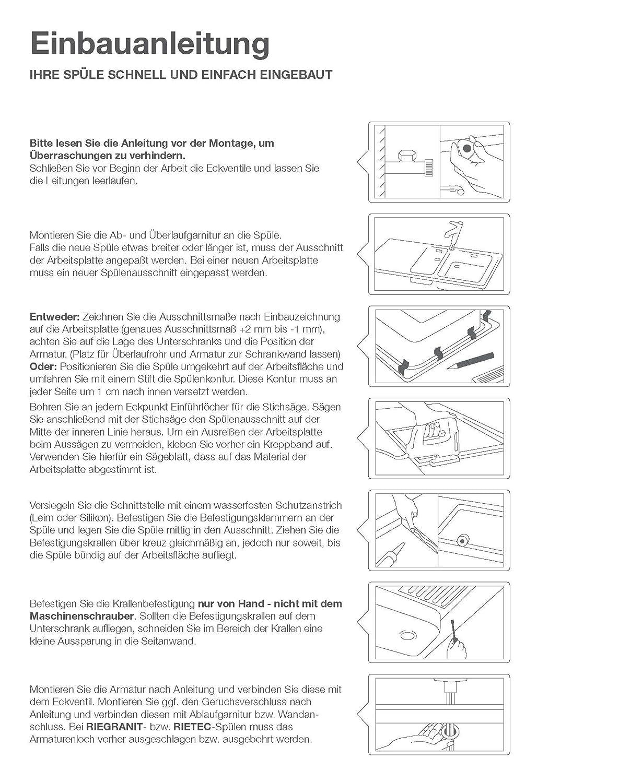 Rieber Einbausp/üle Romy Facelift Edelstahl K/üchensp/üle MADE IN GERMANY 805x505 mm 1 Becken mit Abtropffl/äche Sp/ülbecken glatt langlebig und rostfrei  Unterschrankbreite 45 cm
