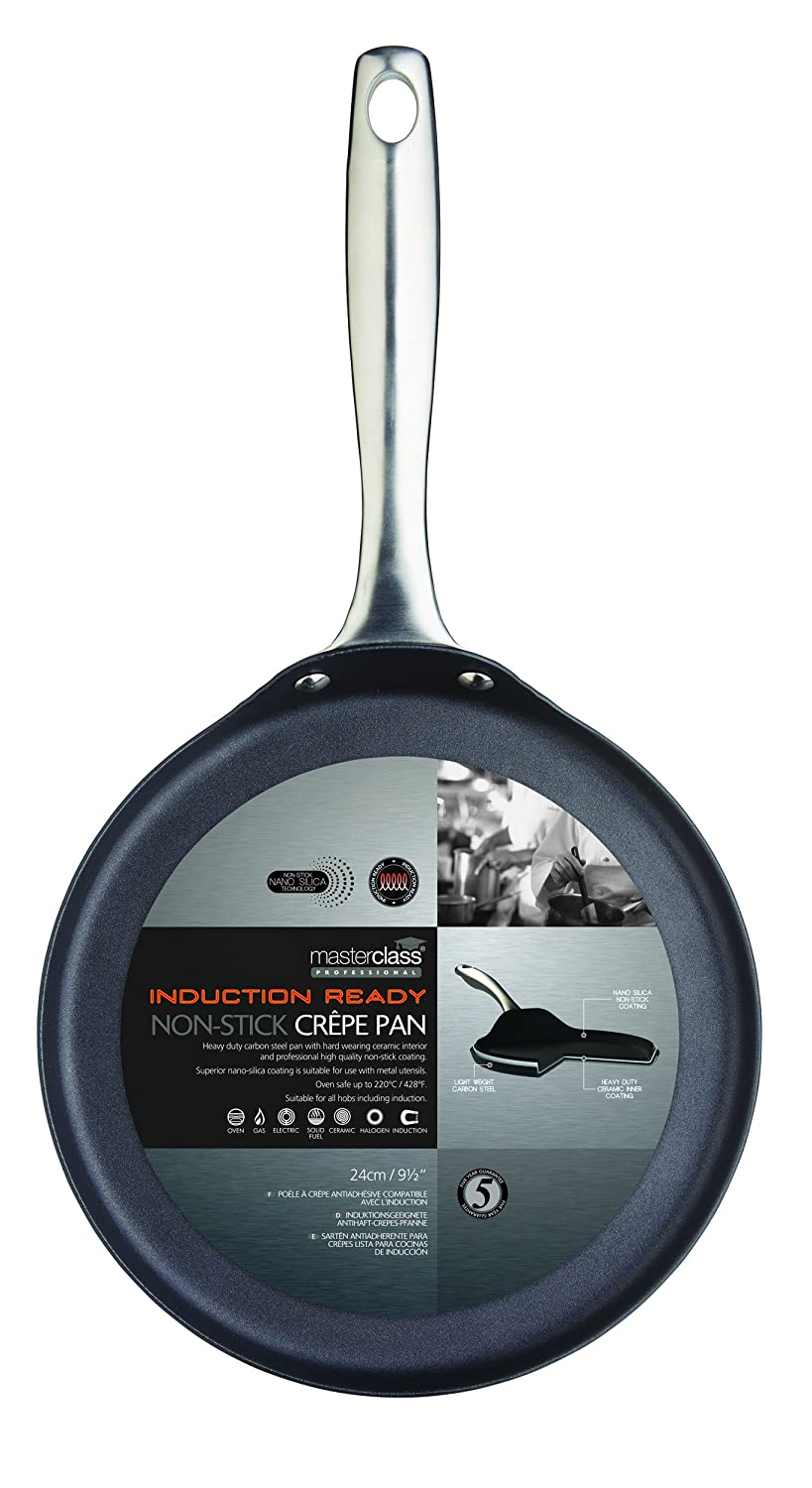 Amazon.com: Kitchencraft Non-stick Crepe Pan Master Class, Steel, Black, 24 x 12 x 16cm: Kitchen & Dining