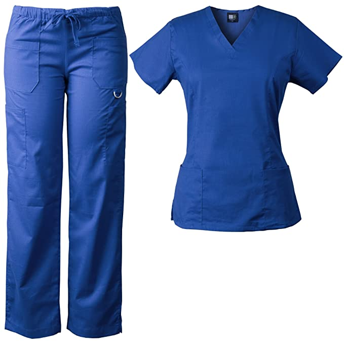 a9eb8bb38f5 Medgear Women's Stretch Scrubs Set, Sporty V-neck Top & Multi-pocket Pants  7895 at Amazon Women's Clothing store:
