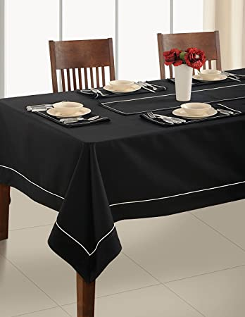 Beauteous Black Table Linen 4 Seater Square Tablecloth Premium Cotton  Fabric 60 X 60 Inch