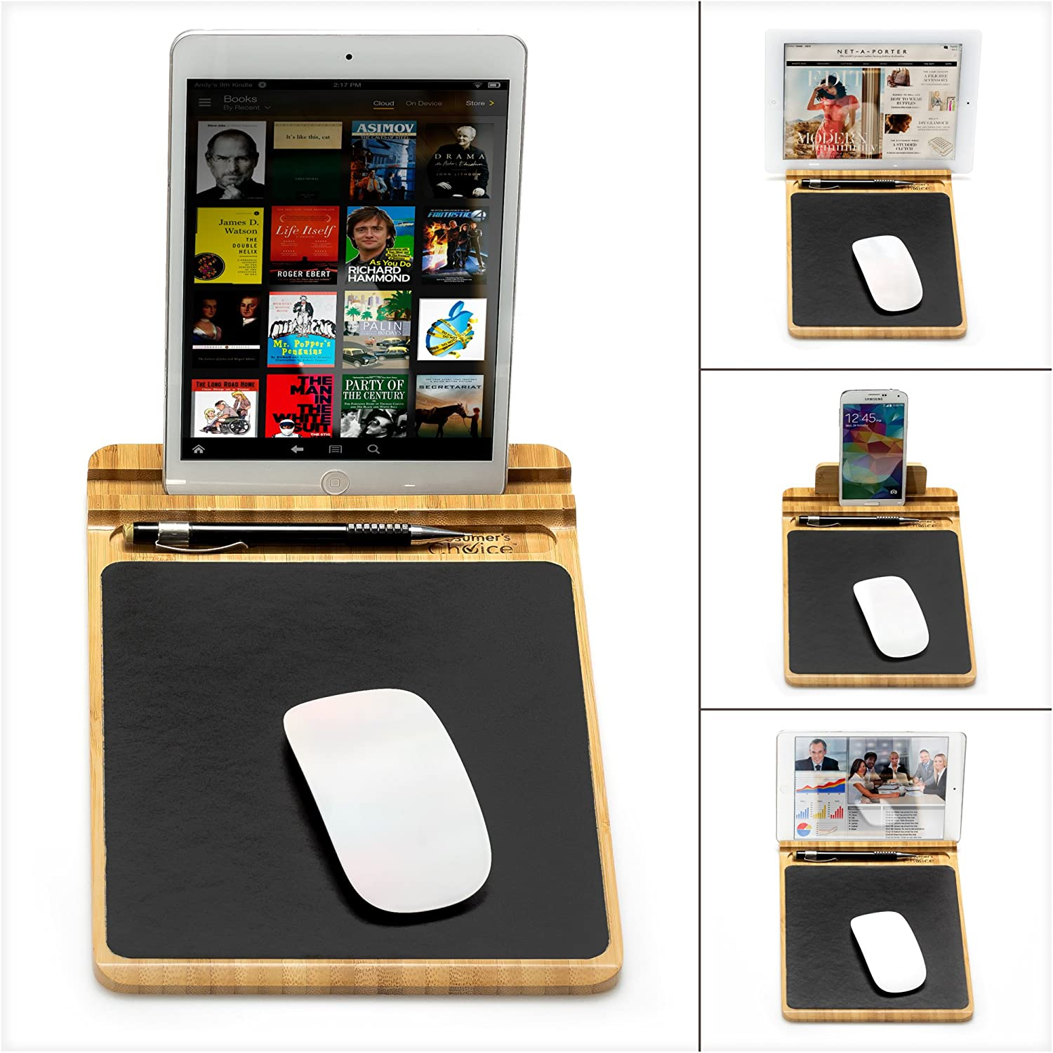 Prosumers Choice Bamboo Multifunctional Mouse Pad and Desk Organizer with Pen Holder and Tablet or Smartphone Stand