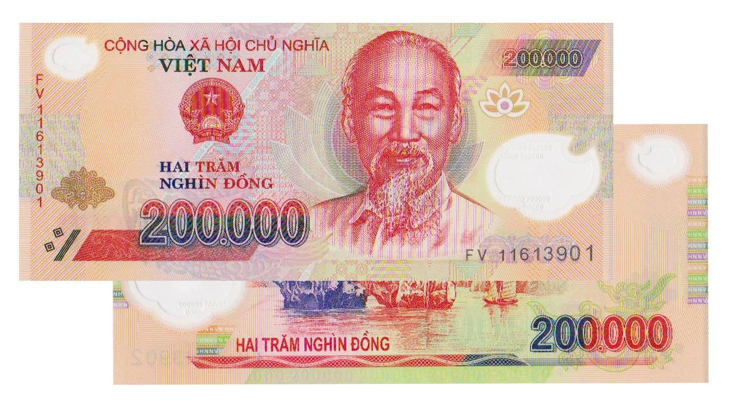 200,000 Vietnamese Dong - Circulated Note Worldwide Shipping: Amazon