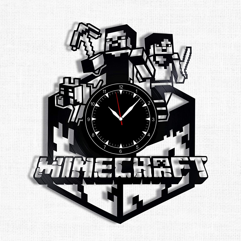 Minecraft Vinyl Record Clock - Wall Clock Minecraft - Best Gift for Minecraft Lover - Original Wall Home Decor