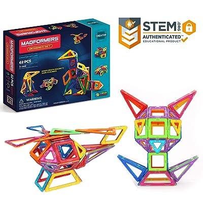 Magformers Designer Set (62-pieces) Magnetic Building Blocks, Educational Magnetic Tiles Kit , Magnetic Construction shapes STEM Toy Set: Toys & Games