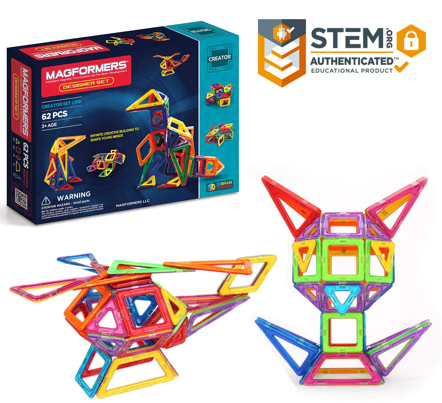 Magformers Designer Set(62-pieces) MagneticBuildingBlocks, Educational MagneticTiles Kit , MagneticConstructionshapes STEM Toy Set