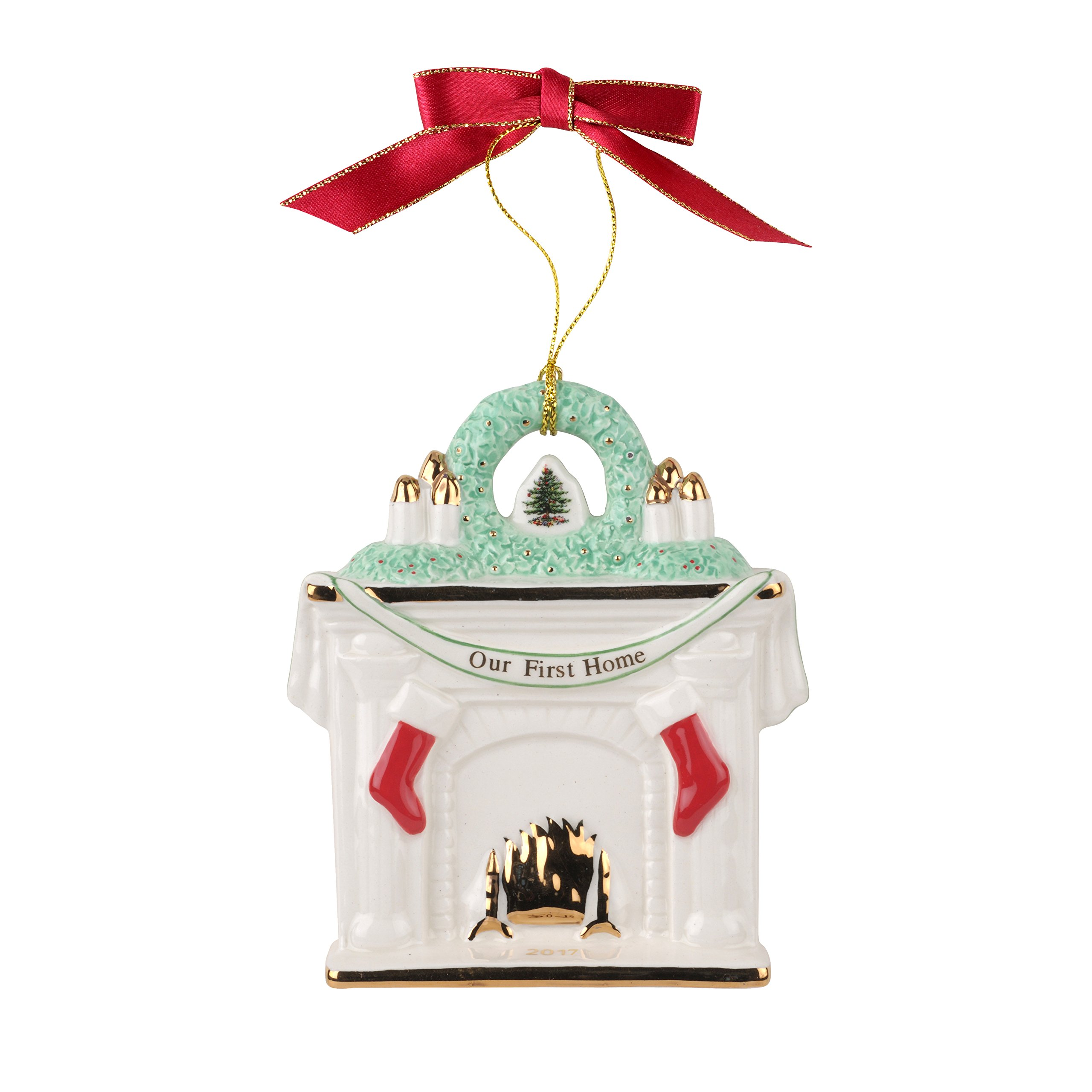 Spode Our First Home Fireplace 2017 Christmas Tree Ornament