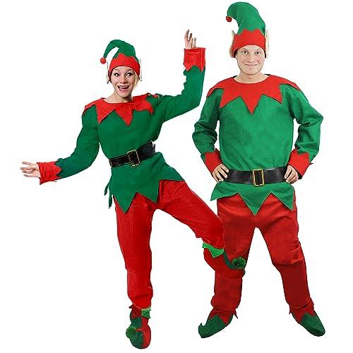 elf costume christmas fancy dress cheeky elf top trousers belt hat deluxe - Christmas Elf Costume