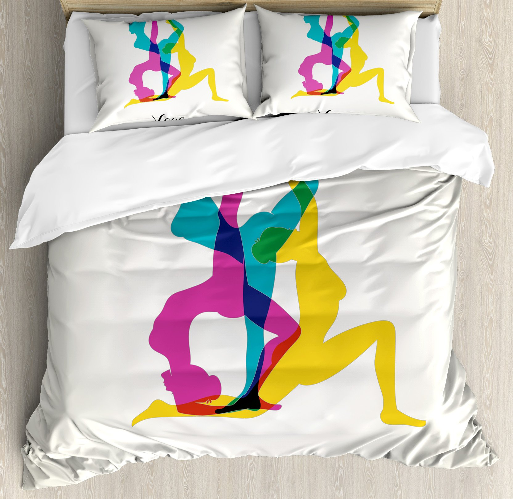 Yoga Decor Duvet Cover Set by Ambesonne, Different Yoga Poses Energetic Female in Motion Pilates Human Health Wellbeing Design, 3 Piece Bedding Set with Pillow Shams, King Size, Pink Yellow Teal