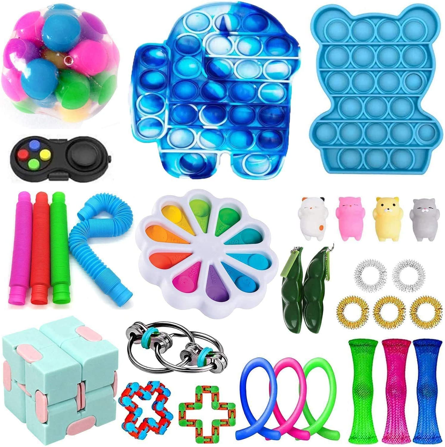 Fidget Toys Pack, Sensory Fidget Toys Cheap, Fidget Toy Set Figetgets-Toys Pack Fidget Box, Fidget Pack with Simples-Dimples in It, Gifts for Kids&Adults with Autism (30 Pcs Fidget Packs)