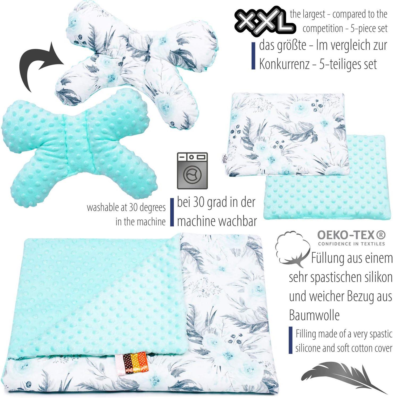 Azteca PALULLI Baby 95 x 55 cm, colch/ón para beb/é extra/íble, manta para acurrucarse, coj/ín para el cuello, 100/% algod/ón, hipoalerg/énico, para 0 /– 8 meses 5 piezas Set de equipamiento para beb/és