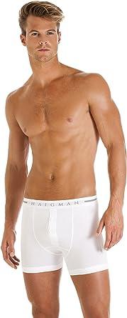 Haigman Mens Underwear Navy Blue /& White Twin Pack Cotton Stretch Boxer Shorts