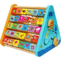 TOWO Wooden Activity Centre Triangle Toys - Wooden Alphabet Blocks Abacus Clock - Activity Cube for Toddlers 5 in 1…