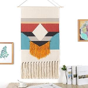 Maydear Macrame Woven Wall Hanging Tapestry- Boho Chic Bohemian Geometric Art Decor - Beautiful Apartment Dorm Room Door Decoration-Northern European tapestry,19.7