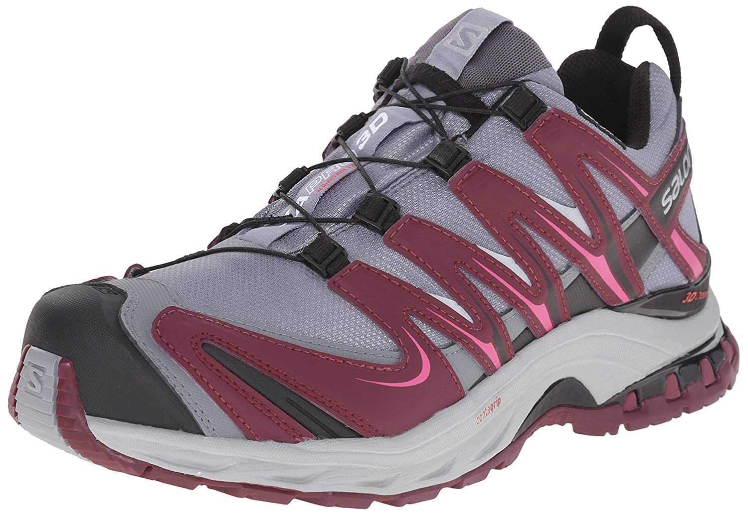 Salomon Women's XA Pro 3D CS Waterproof W Trail Running Shoe B00ZLN4IWW 7.5 B(M) US|Pearl Grey/Bordeaux/Hot Pink