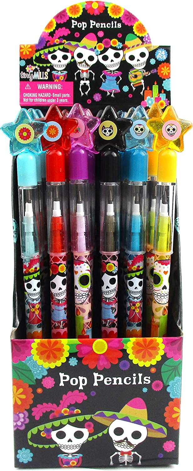TINYMILLS 24 Pcs Day of the Dead Multi Point Pencils