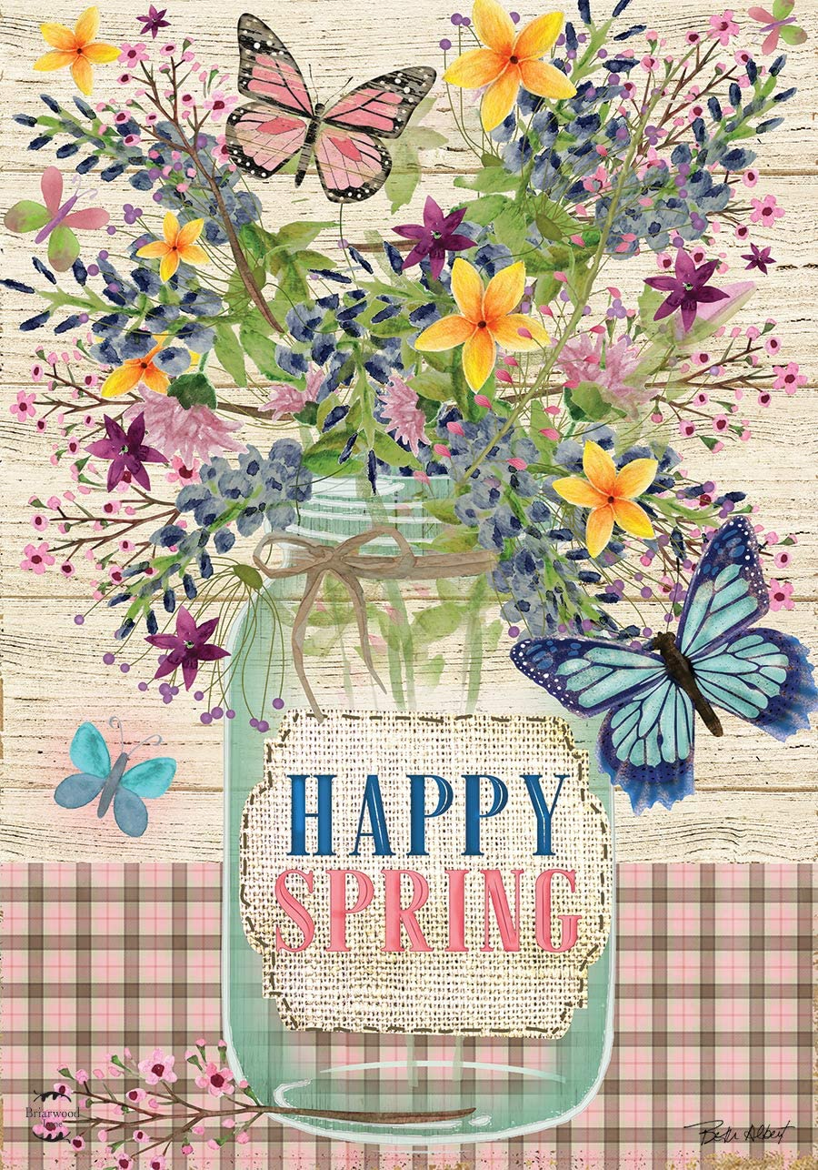 "Briarwood Lane Happy Spring Mason Jar Floral Garden Flag 12.5"" x 18"""