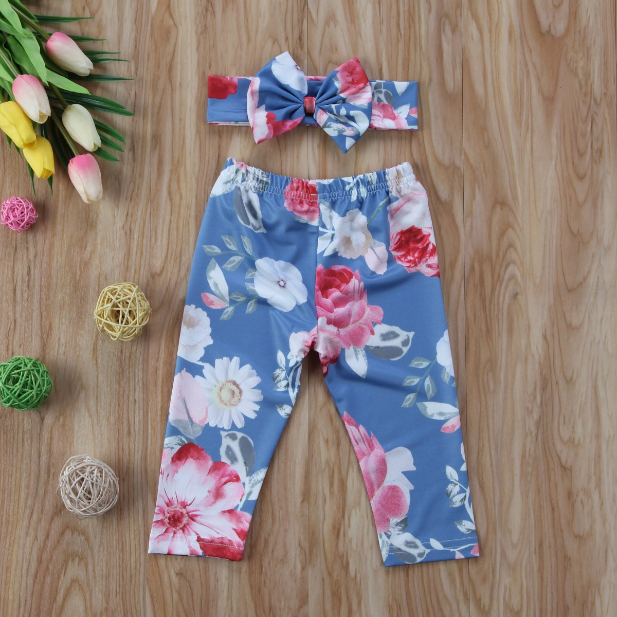 76d369ec30061 Amazon.com: Newborn Baby Girl Floral Long Pants Leggings Headband 2pcs  Outfit Set: Clothing