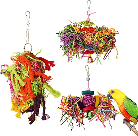 Random Color Whiie891203 Bird Toys Parrots Toy,Colorful Parrot Toy Vine Rattan Ball Ring Bird Parakeet Hanging Pet Cage Decor for Parakeets Cockatiels,Conures Macaws,Parrots,Finches