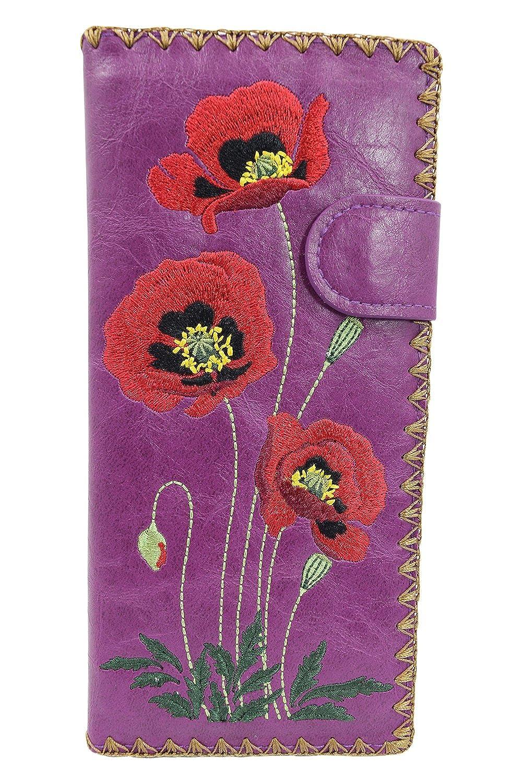 Amazon.com: Lavishy rojo bordado de flor de amapola grande ...
