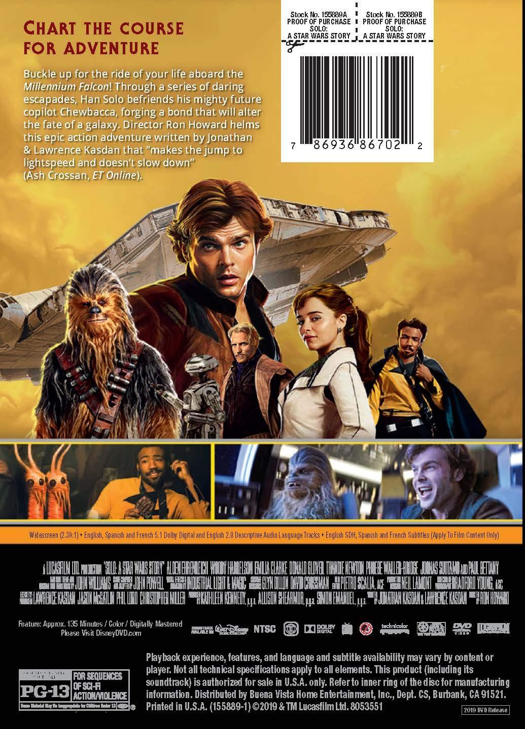 Solo: A Star Wars Story Edizione: Stati Uniti Italia DVD ...