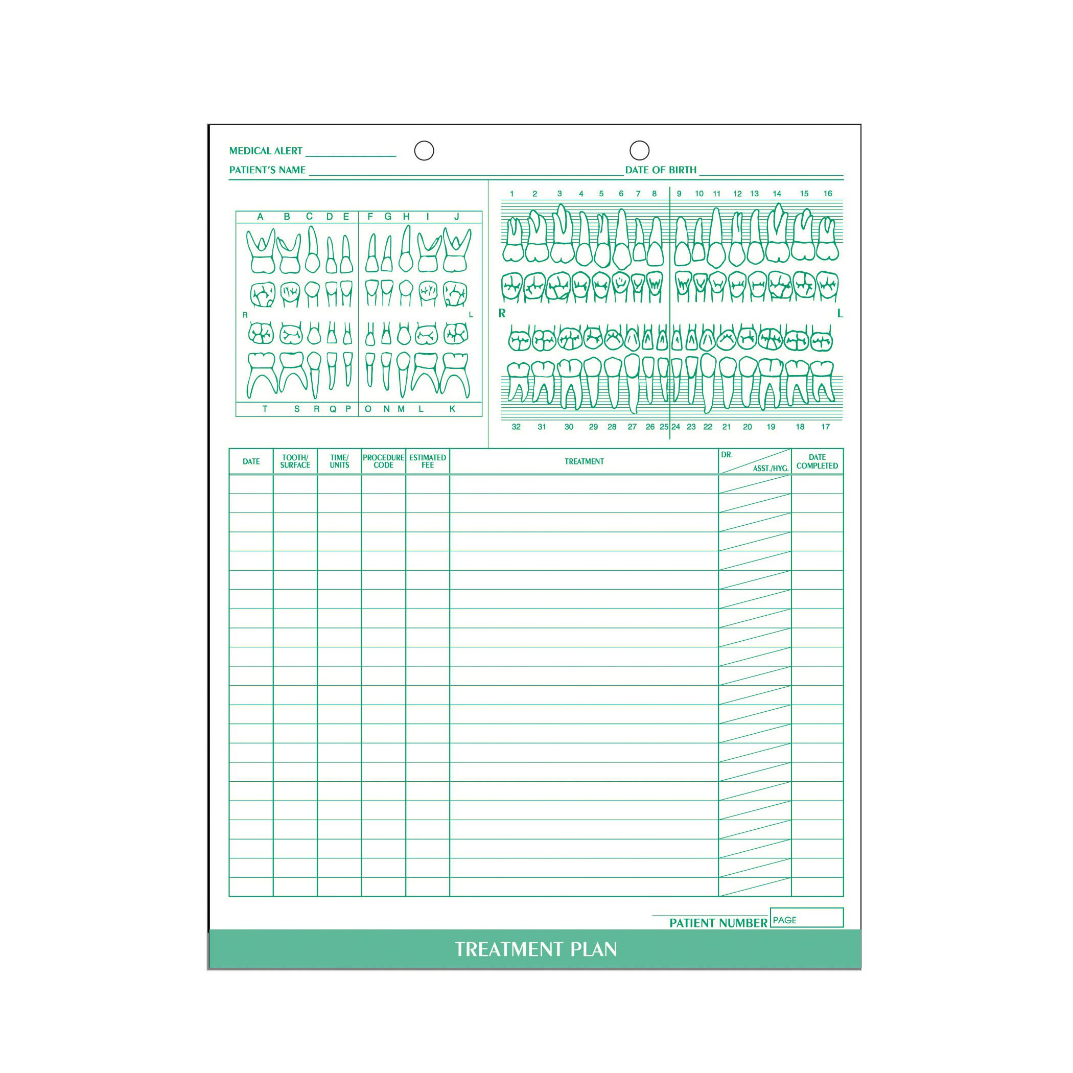 AMZfiling Dental Treatment Plan Form (100/Package)