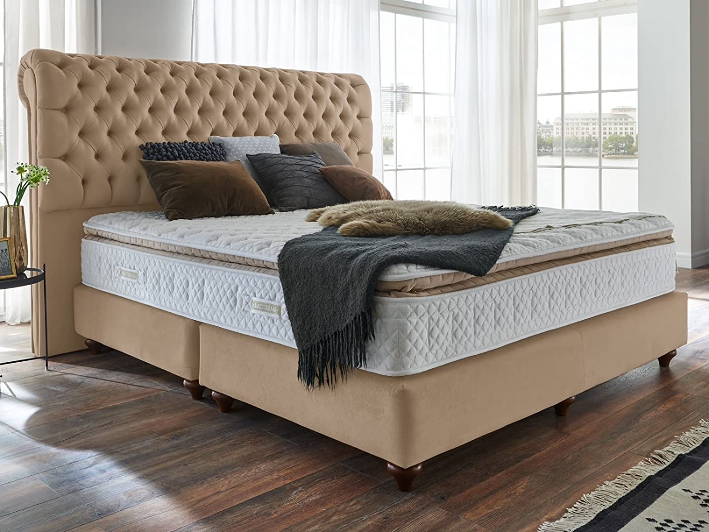 boxspringbett 160x200 140x200 beige velour montana. Black Bedroom Furniture Sets. Home Design Ideas