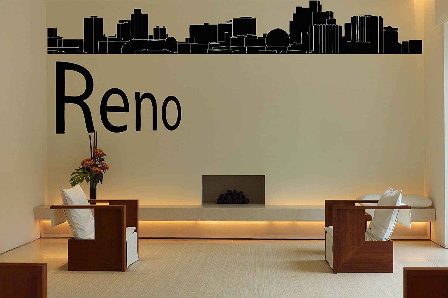 Amazon com wall decals decor reno city skyline decal usa vinyl sticker mural wall art wall decal home decor bedroom dorm decor custom room decor njs43