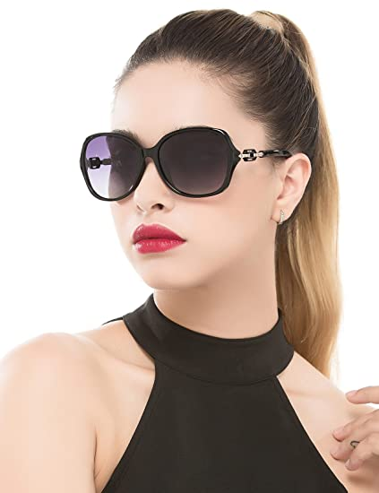 5451ff7b23 BAVIRON Polarized Oversized Sunglasses Butterfly Women s Vintage Sun Glasses  (Black Grey)