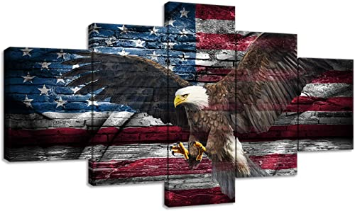 Vintage Bald Eagle American Flag Military Canvas Painting Modern Home Decor 5 Panels Wall Art Independence Day Picture HD Print For Living Room Framed Ready to Hang 70''W x 40''H