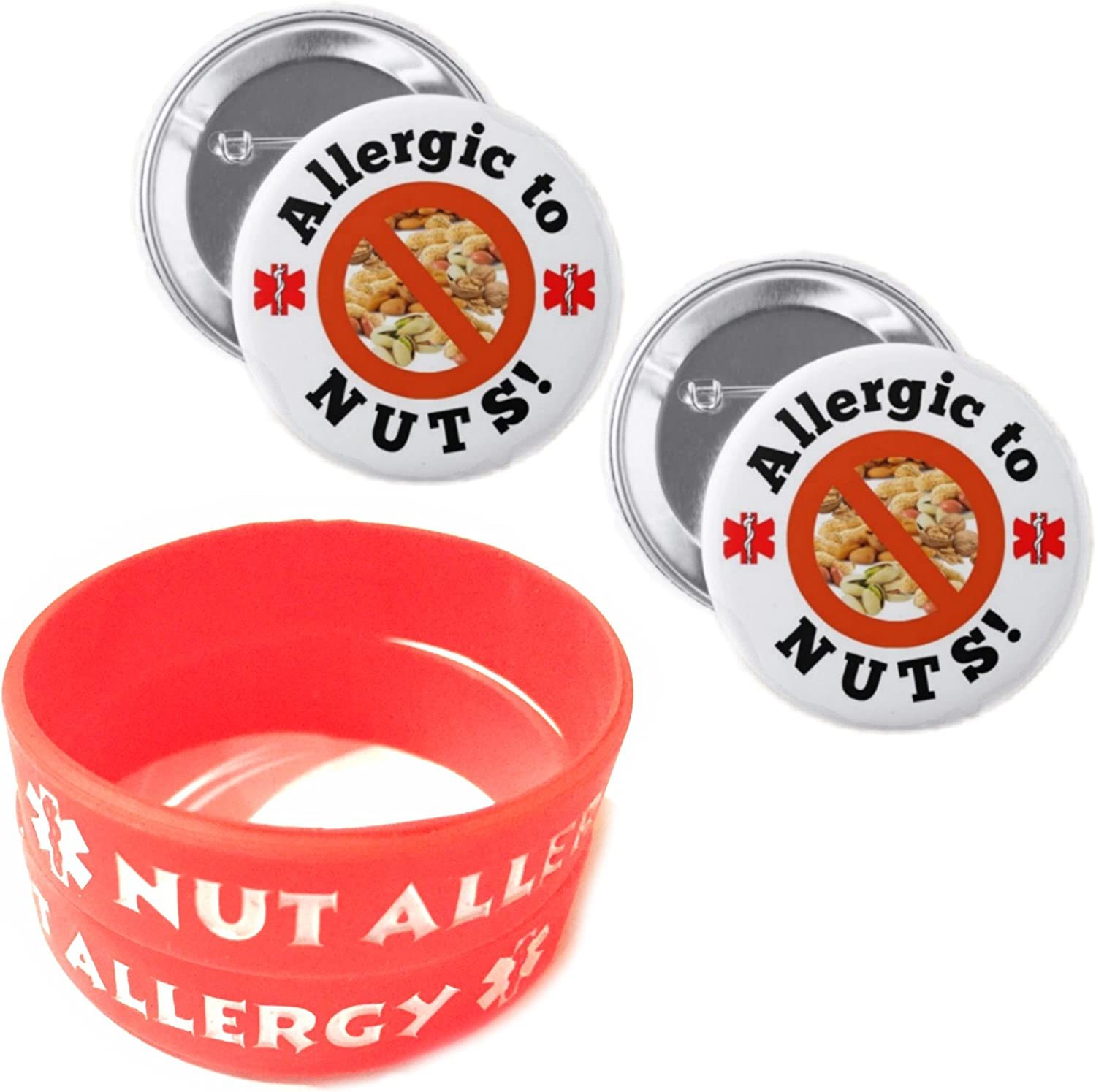 Nut Allergy Bracelets for Kids Red 2pcs Toddler Size and Allergic to Nuts Button Pin 2pcs Medical Alert Bracelets Buttons