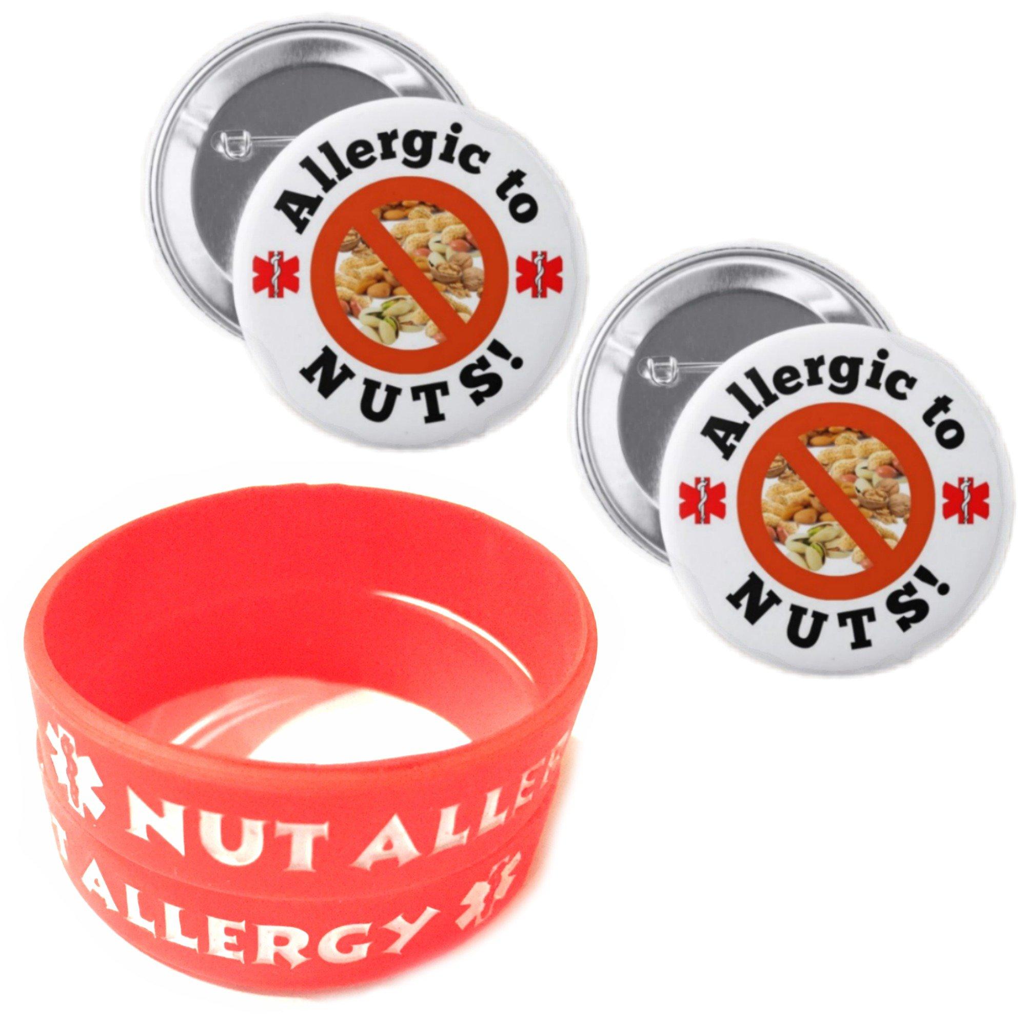 Nut Allergy Bracelets for Kids RED 2pcs Toddler Size/Allergic to Nuts Button Pin 2pcs Medical Alert Bracelets Buttons