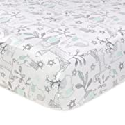 Just Born 100% Cotton Fitted Crib Sheets, Woodland Friends Aqua