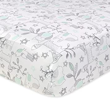 Amazon.com : Just Born 100% Cotton Fitted Crib Sheets, Woodland Friends Aqua : Baby