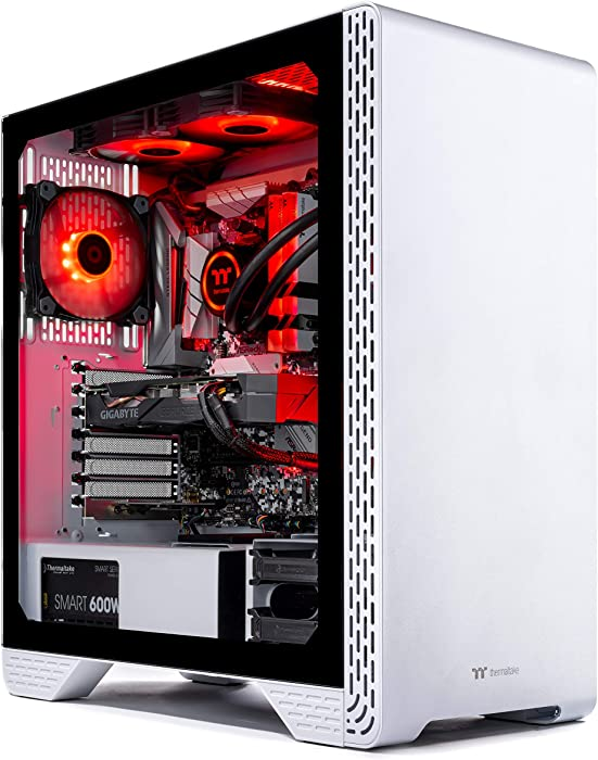 Thermaltake LCGS Glacier 300 AIO Liquid Cooled CPU Gaming PC (AMD RYZEN 5 3600 6-core, ToughRam DDR4 3200Mhz 16GB RGB Memory, RTX 2060 Super 8GB, 1TB SATA III, Win 10 Home) S3WT-B450-STL-LCS