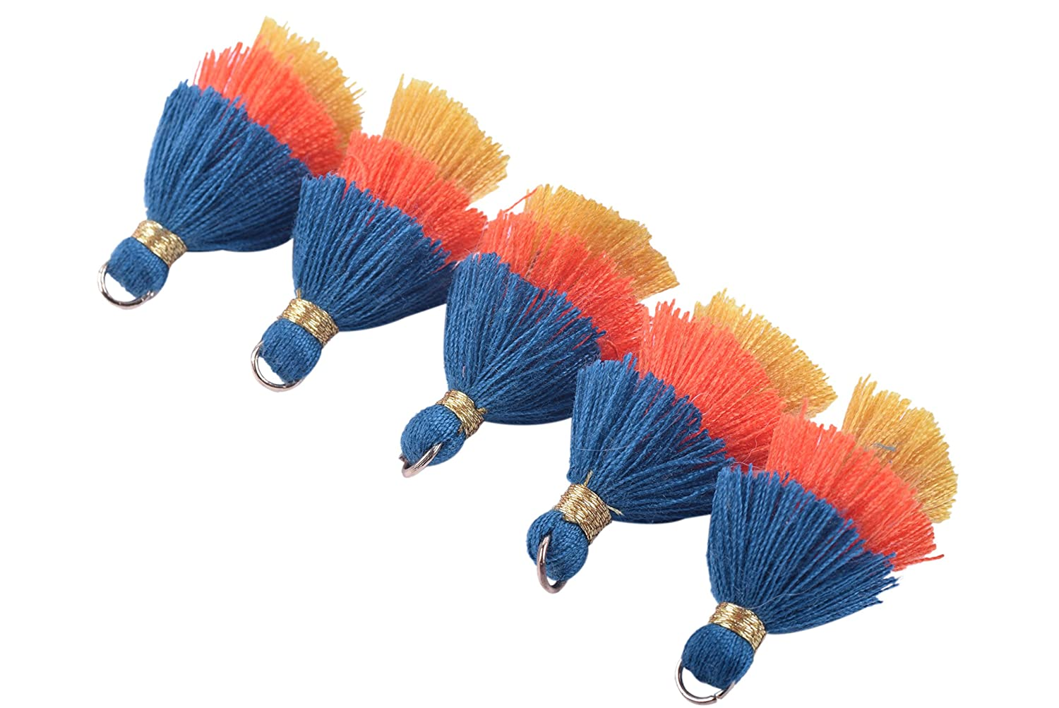 Clothing KONMAY 10pcs 1.4 3.5cm Tiny Tri-Layered Tassels with Gold Jump Ring for Jewelry Making