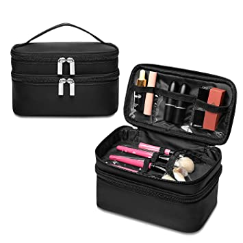 61d1b6b91934 Qookiee Makeup Bag for Women, Double Layer Cosmetic Cases Large Capacity  Toiletry Organizer Bag...