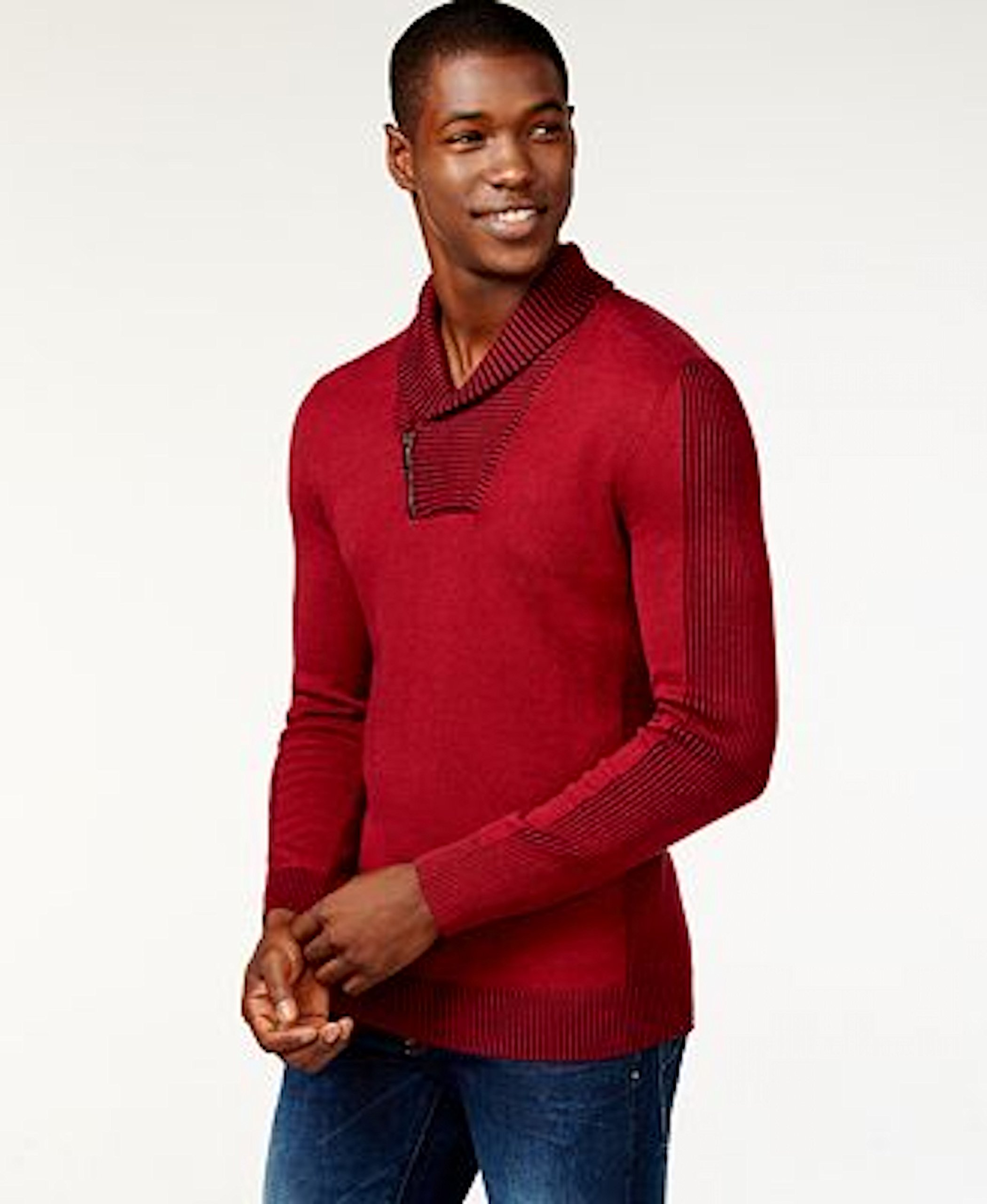 INC Mens Shawl Collar 1/4 Zip Pullover Sweater Red XL