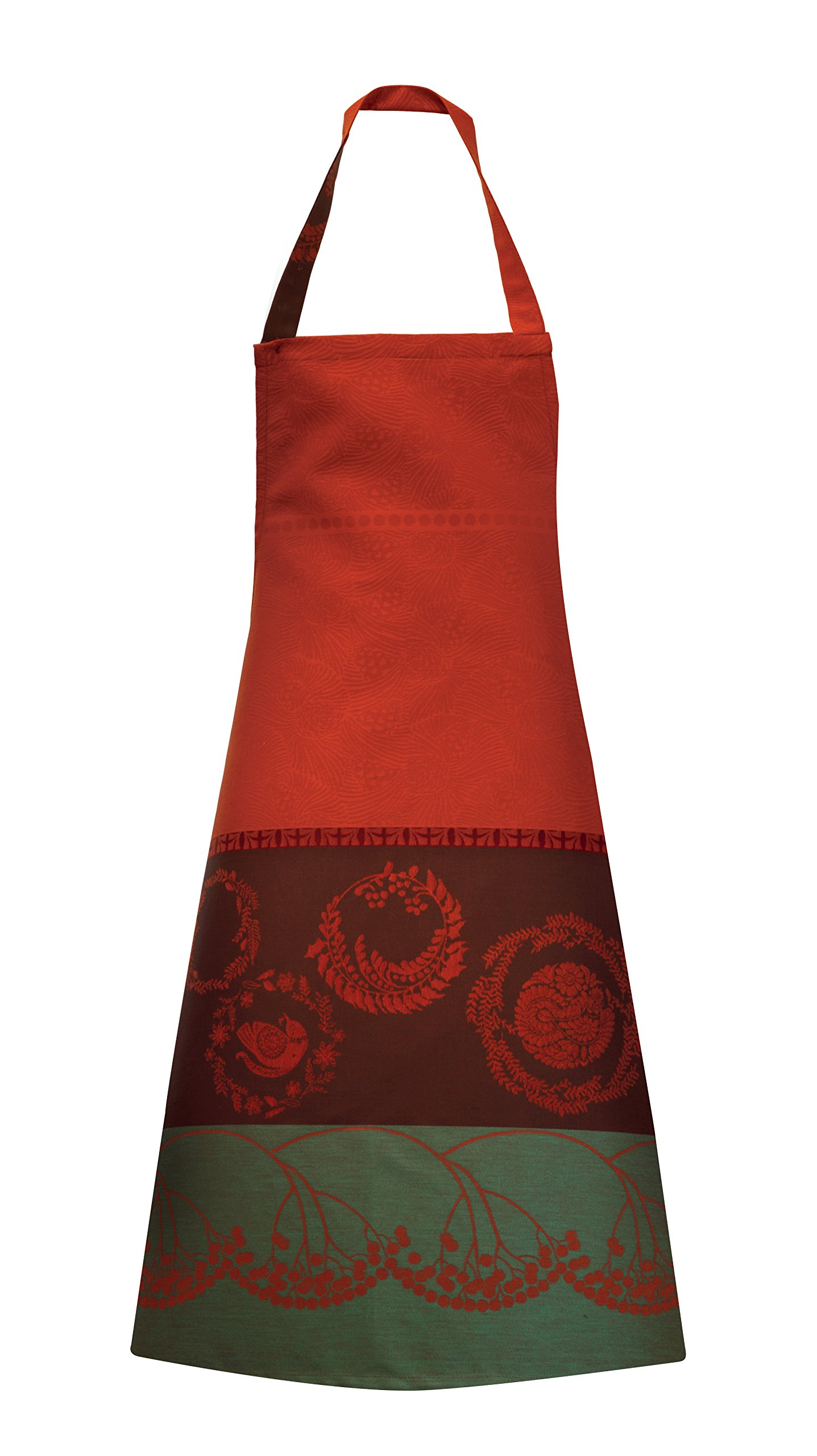 Garnier-Thiebaut, Christmas Forest Red French Holiday Full Bib Apron, 100 Percent Cotton, Green Sweet Treated by Garnier-Thiebaut